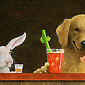Hare of the dog with a young blonde... Print by Will Bullas