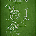 Harley Davidson Fender Construction Patent Drawing From 1949 - Green Print by Aged Pixel