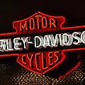 Harley-Davidson Motor Cycle Neon Lights 2 Print by Jill Reger