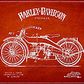 Harley Davidson Motorcycle Patent Drawing From 1924 Print by Aged Pixel