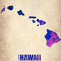 Hawaii Watercolor Map Poster by Irina  March
