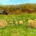 HAY BALES IN THE MEADOW Poster by Vicky Watkins