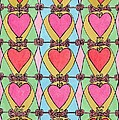Hearts a'la Stained Glass Print by Mag Pringle Gire