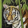 Hiding in the Bamboo Print by Wanda Dansereau