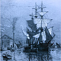 Historic Seaport Blue Schooner Print by John Stephens