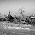 hoar frost covered street in small rural village of Forget Saskatchewan Canada Poster by Joe Fox