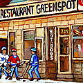 HOCKEY AND HOTDOGS AT THE GREENSPOT DINER MONTREAL HOCKEY ART PAINTINGS WINTER CITY SCENES by CAROLE SPANDAU