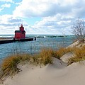 Holland Harbor Lighthouse - Big Red - Michigan Poster by Michelle Calkins