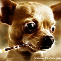 Hollywood Fifi Chika Chihuahua - Electric Art - With Text Print by Wingsdomain Art and Photography