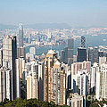 Hong Kong harbor from Victoria peak in a sunny day Print by Matteo Colombo