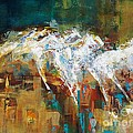 Horses West of Boulder Print by Frances Marino