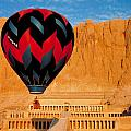 Hot air Balloon Over Thebes Temple Poster by John G Ross