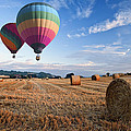 Hot air balloons over hay bales sunset landscape Poster by Matthew Gibson