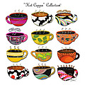 Hot Cuppa Whimsical Colorful Coffee Cup Designs by ROMI Poster by Megan Duncanson