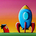 House Builds A Rocketship Print by Cindy Thornton