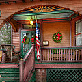 House - Porch - Metuchen NJ - That yule tide spirit Print by Mike Savad