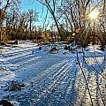 Ice Pond Sunset Print by Baywest Imaging