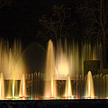 Illuminated Dancing Fountains Poster by Sally Weigand