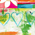 In Bloom- colorful heart and flower art Print by Linda Woods