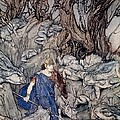 In the forked glen into which he slipped at night-fall he was surrounded by giant toads Print by Arthur Rackham