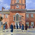 Independence Hall and Delegates Print by Rob Wood