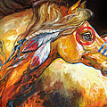 INDIAN WAR HORSE GOLDEN SUN Poster by Marcia Baldwin