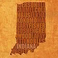 Indiana State Word Art on Canvas Print by Design Turnpike