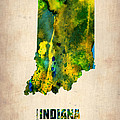 Indiana Watercolor Map Print by Irina  March
