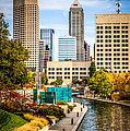 Indianapolis Skyline Picture of Canal Walk in Autumn Print by Paul Velgos