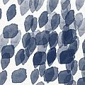 Indigo Rain- abstract blue and white painting Poster by Linda Woods