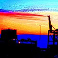 Industrial sunset Print by Hilde Widerberg