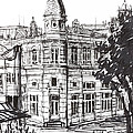Ink Graphics of an Old Building in Bulgaria Print by Kiril Stanchev