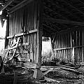 Interior of Barn in Plainville Indiana Print by Julie Dant