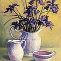 Irises and Herbal Tea Print by Janet King