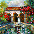 Italian Abbey garden scene with fountain Print by Gina Femrite