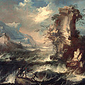 Italian Seascape With Rocks And Figures Print by Marco Ricci