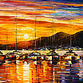 ITALY NAPLES HARBOR Poster by Leonid Afremov