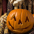 Jack-O-lantern and Indian corn  Print by Garry Gay
