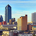 Jacksonville Skyline Morning Day Color Panorama Florida Poster by Jon Holiday