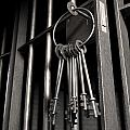 Jail Cell With Open Door And Bunch Of Keys Print by Allan Swart