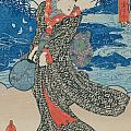 Japanese woman by the sea Poster by Utagawa Kunisada