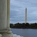 Jefferson Memorial and Washington Monument - Washington DC - 01131 Print by DC Photographer