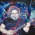Jerry Garcia and Lights Print by Joshua Morton