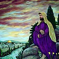 Jesus Overlooking Jerusalem -1 Poster by Ave Hurley