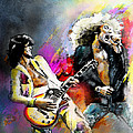 Jimmy Page and Robert Plant Led Zeppelin Print by Miki De Goodaboom