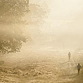 Joggers in Richmond Park London on a crisp foggy Autumn morning Print by Matthew Gibson
