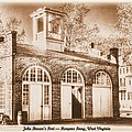 John Browns Fort - Harpers Ferry West Virginia - Modern Day Sepia Print by Michael Mazaika