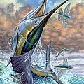 Jumping Sailfish And Flying Fishes Poster by Terry Fox