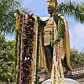 Kamehameha Covered in Leis Print by Brandon Tabiolo