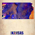 Kansas Watercolor Map Poster by Irina  March